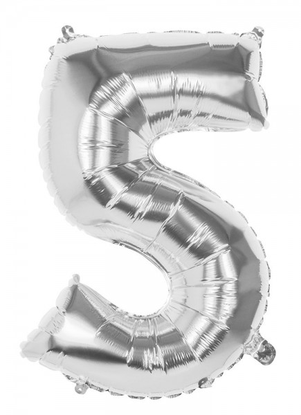 Foil balloon number 5 silver metallic 86cm