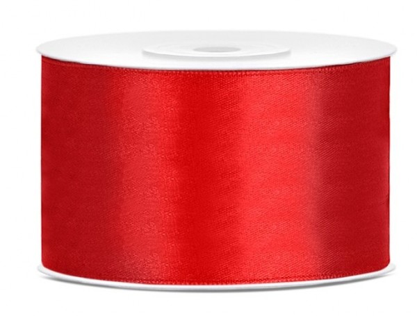 25m satin ribbon red 38mm wide