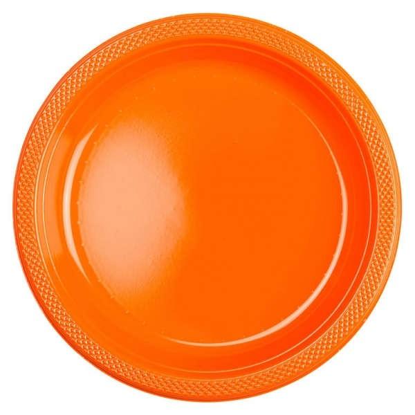 10 Kunststoffteller Partytime Orange 17,7cm