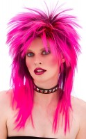 Pinke Rockstar 80er Jahre Perücke