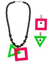 80er Jahre Neon Halskette Mit Ohrringen