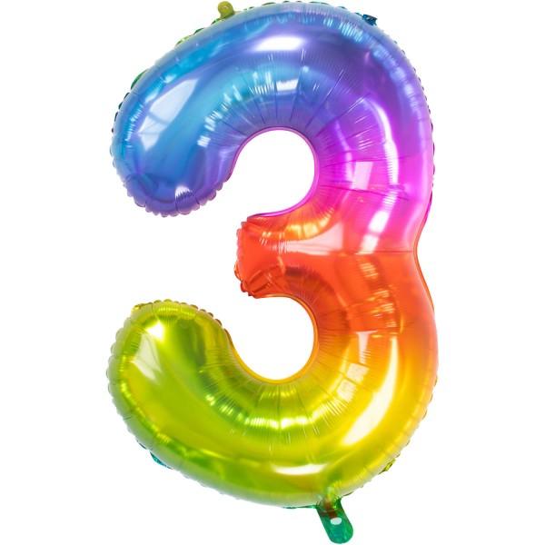 Ballon en aluminium numéro 3 Super Rainbow 86cm