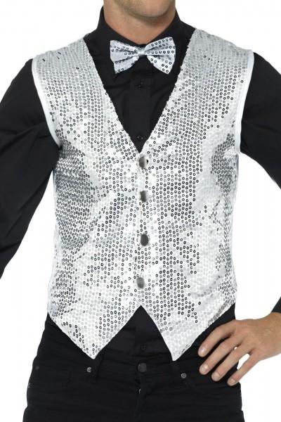 Silver party sequin men's vest
