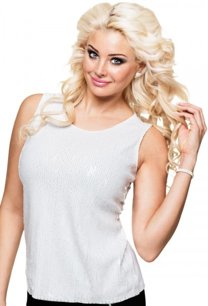 Top paillettes Palina blanc