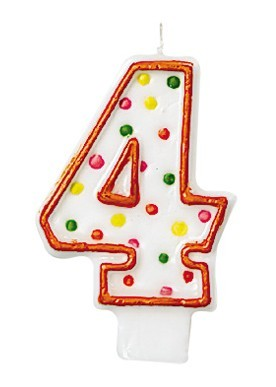 Celebraciones Número Vela 4 Con Puntos De Colores Para Pastel De Cumpleaños