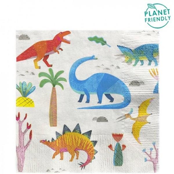 20 petites serviettes de table dinosaures 33cm