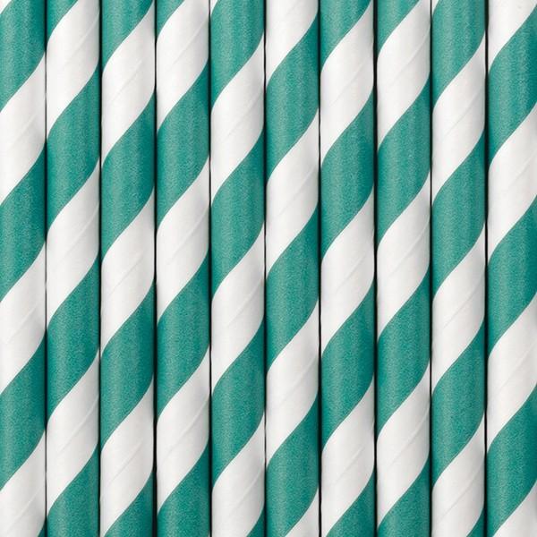 10 pailles en papier rayé turquoise 19,5 cm