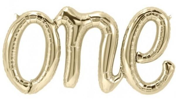 White gold One foil balloon lettering 76cm