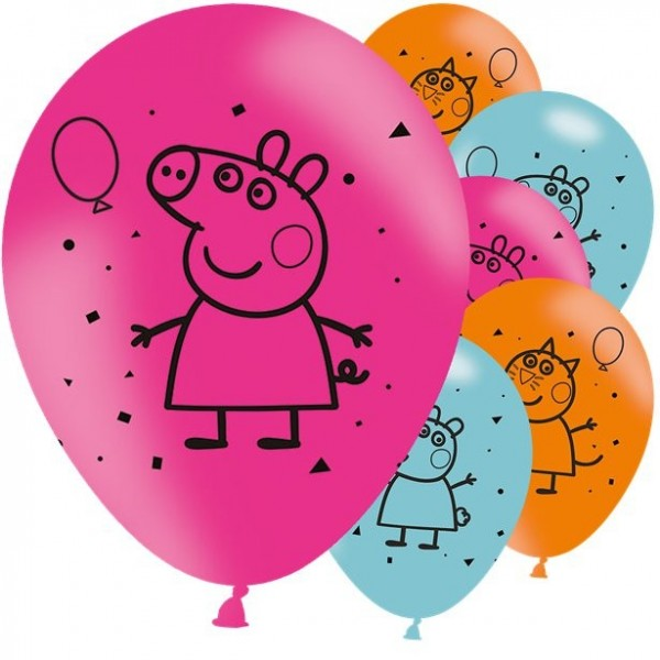 6 Peppa Pig party fever balloons 28cm
