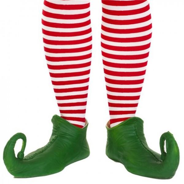 Red and white ringed elf socks