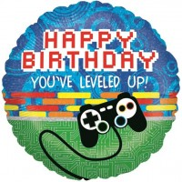 Level Up Happy Birthday Videogames Folienballon 46cm