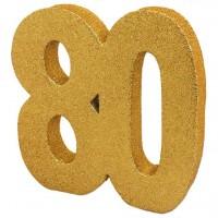 Goldene Zahl 80 Tischdeko glitzernd