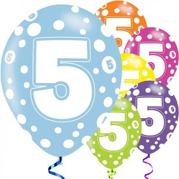 6 Latexballons 5. Geburtstag bunt 28cm