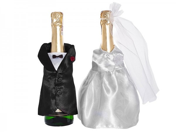 Brautpaar Flaschen-Kleidung Set