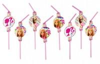8 Barbie Fashionista Strohhalme 24cm