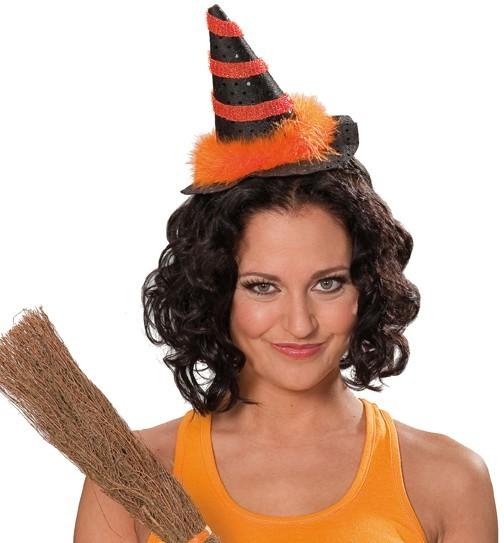 Hexenhut mit Haarreif orange/schwarz